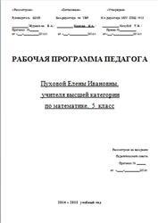 Математика, 5 класс, Рабочая программа, Пухова Е.И., 2015
