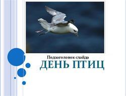 Презентация по биологии на тему День птиц