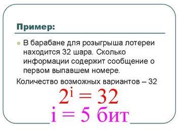 Презентация - Измерение информации - Алфавитный подход - Содержательный подход