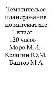 Тематическое планирование по математике, 1 класс, 120 часов, Моро М.И., Колягин Ю.М., Бантова М.А.