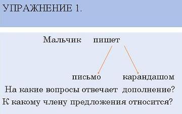 Презентация - Второстепенные члены предложения - Дополнение
