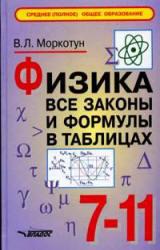 Физика, Все законы и формулы в таблицах, 7-11 класс, Моркотун В.Л., 2007